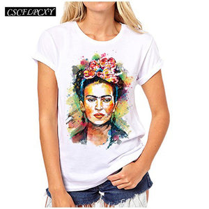 Women Frida Kahlo Print T shirt Funny Personalized Short Sleeve Round Neck Top Tees