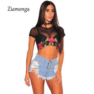 Ziamonga 2017 Brand Flower T Shirt Women Embroidery Lace T-Shirt Black Short Sleeve Women Short Tops Sexy Mesh Tee Shirt Femme