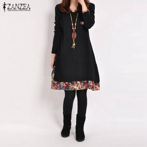 Women Dress 2018 Autumn Casual Vintage Vestidos Ladies Loose Floral Hem O Neck Long Sleeve Cotton Dresses Plus Size