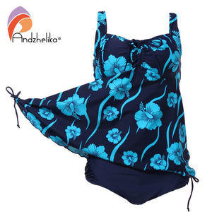2019  Bikini Plus Size Swimwear  New Women Sexy Print flower Dress Swimsuit Two Piece Swim Beach Bathing Suit 3XL-7XL