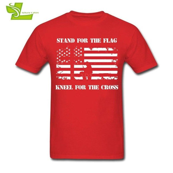 Stand For The Flag Kneel For The Cross T Shirt Veteran Guys Latest Tee Shirts Casual T-Shirt Men's Short Sleeve O Neck Dad Tops