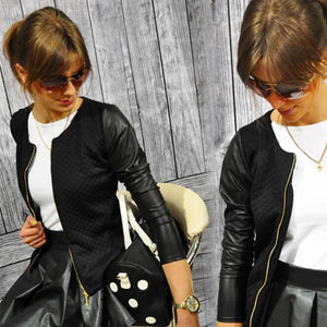 2018 Women Basic Coats Jackets Spring Black Zipper Crop Pu Jacket Punk Style Bandage Women PU Leather Jacket Coat Crop Tops