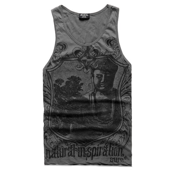Grey Men Tank Top Casual Fitness Singlets Brand Mens T-Shirt Sleeveless Gasp Hip Hop Vest Elephant Print Cotton undershirt
