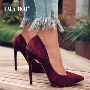 LALA IKAI Pumps Women Shoes Red Flock Slip-On Shallow Wedding Party Thin Heels Pointed Toe Woman High Heels Pump 900C1722 -4
