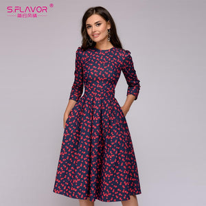 Women Elegent A-line Dress 2018 Vintage printing party vestidos Three Quarter Sleeve women Autumn Dress(No Pockets)