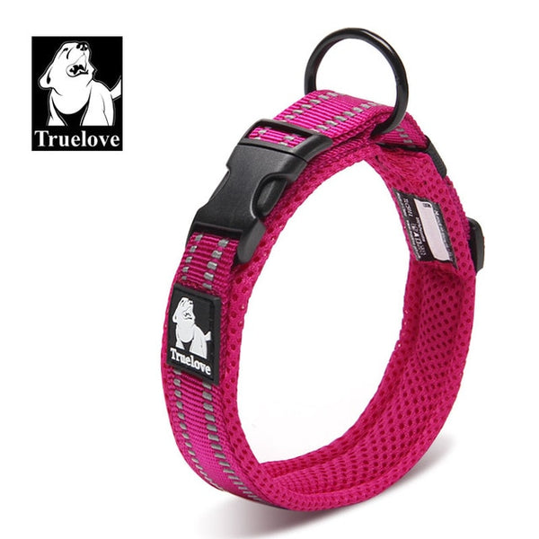 Truelove Adjustable Nylon Dog Collars Mesh Padded Reflective Collar For Dog Training Outdoor Comfortable Dog Necklace For Pet