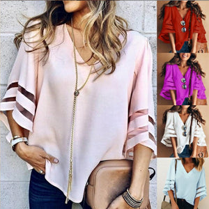 Women 3/4 Flare Sleeve Blouse Summer Loose V Neck Tops Mesh Stitching Shirt