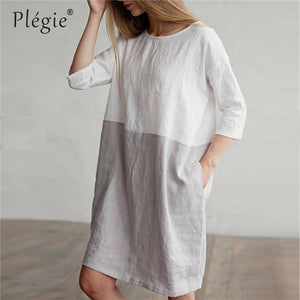 2019  Cotton Linen Straight Summer Dress Women Patchwork Basic Dresses Boho Midi Beach Sundress Casual Women's Clothing