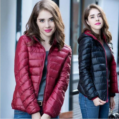 2018 women warm in winter Super light thin 90% White eiderdown jackets/women slim Fit Double sided Hooded down coat 3XL