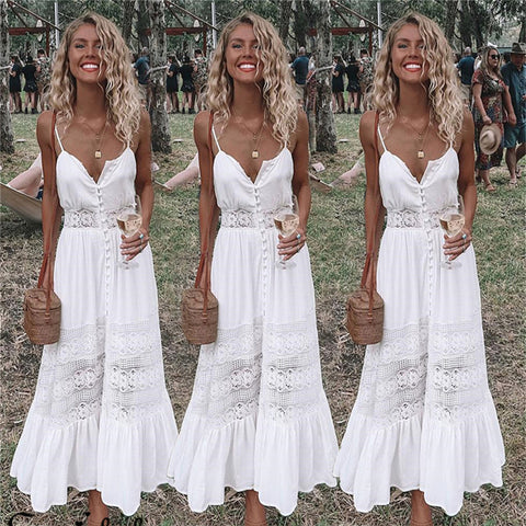 2018 Fashion Women Clothing Summer Lace Dress Female Hollow Out Maxi White Dress Loose Casual Sexy Party Women Dress Plus Size