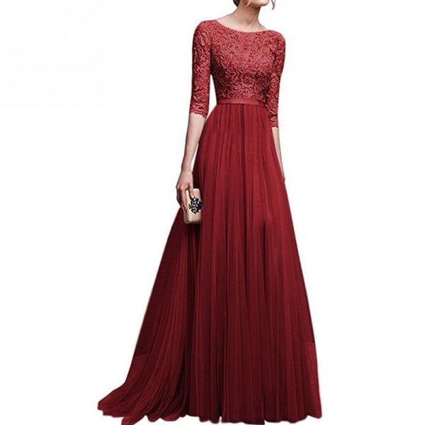 2018 New Elegant Full Sleeve Chiffon Lace Stitching Floor-length Women Party Prom Evening Red Long Dress Female Clothing Clothes