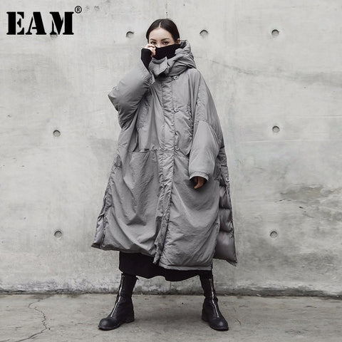 2018 New Autumn Winter Hooded Solid Color Light Gray Thickening Big Size Vent Warm Coat Women Jacket Fashion Tide JE02002