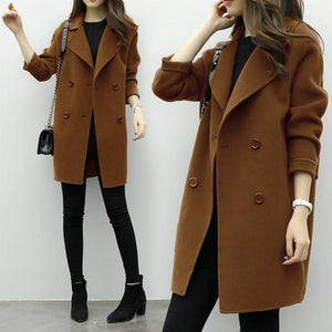 New Thin Wool Blend Coat Women Long Sleeve Turn-down Collar Outwear Jacket Casual Autumn Winter Elegant Overcoat 6Q0475