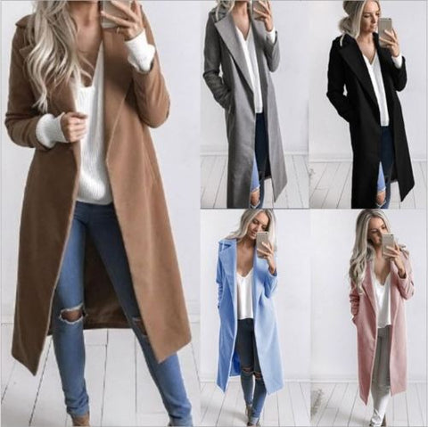 Fashion Women Winter Warm Wool Lapel Trench Coat Slim Outwear Overcoat