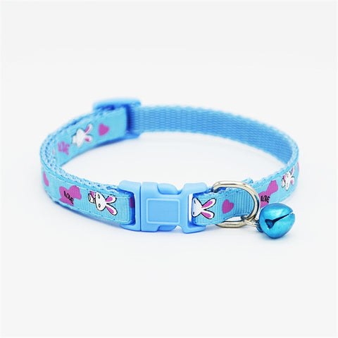 1Pcs Dog Collars Cute Lovely Pets Adjustable Necklace Collar Polyester Fashionable Puppy Pet Collars with Bells Cat Dogs Collars