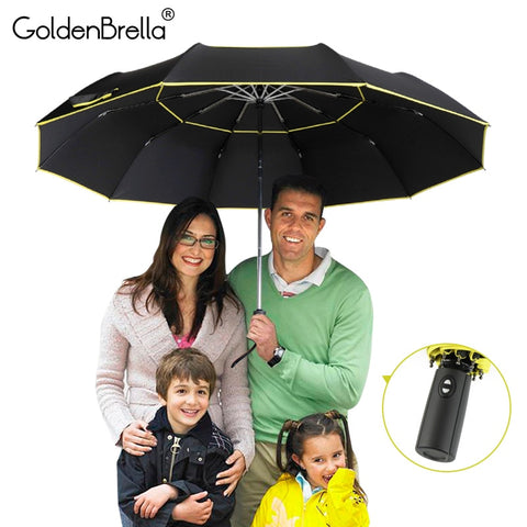 High Quality 120cm Fully-automatic Umbrella Men Rain Woman Double Layer 3 Folding Business Gift Umbrella Windproof Sun Umbrellas