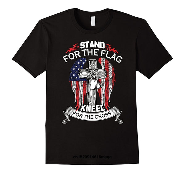 t shirt STAND FOR THE FLAG KNEEL FOR THE CROSS Men's Fashion T-shirt