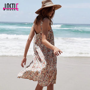 2019  Summer Women Dress Boho Vintage Floral Midi Dresses Casual Beach Dress Party Dresses Vestidos Female Clothing