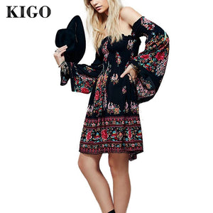 2019  Summer Bohemian Sexy Slash Neck Black Floral Boho Dress Long Sleeve Women Dress Hippie Boho Clothing Tunique Femme K4023