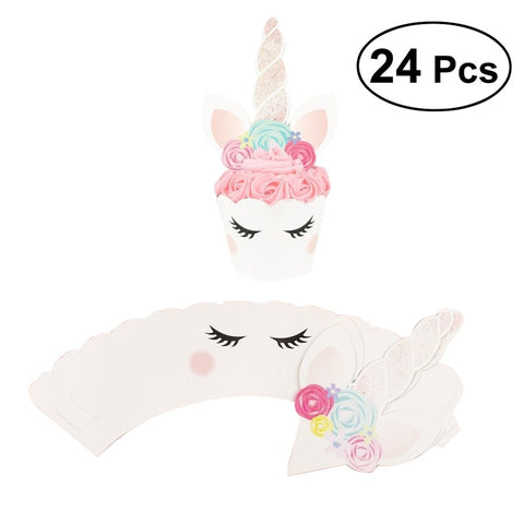 24Pcs Unicorn Glitter Paper Cake Toppers Cake Decoration Party Supplies Cupcake Cardboard