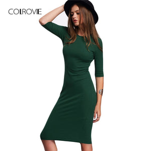 Work Summer Style Women Bodycon Dresses Sexy Casual Green Crew Neck Half Sleeve Midi Dress