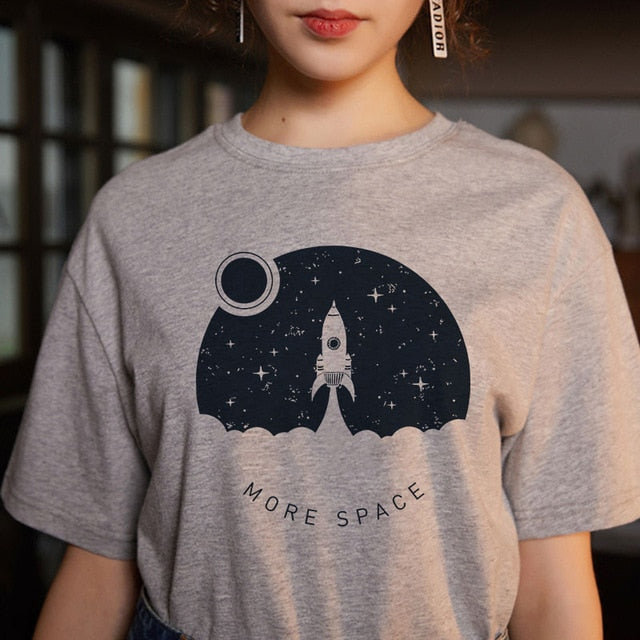 Cosmic belief Harajuku summer women's new ins fashion cartoon printed letter bts short-sleeved casual T-shirt shirt S-2XL