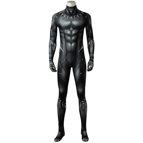 Black Panther T'Challa Costume Movie Black Panther Cosplay Jumpsuit Superhero Zentai Bodysuit Men Halloween Outfit in Stock