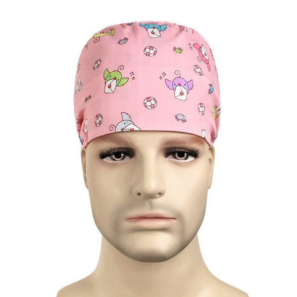 New Cartoon Print Tieback Scrub Hats Surgical Caps Pet Hospital Pharmacy 100% Cotton Elasticized Work Hat Nurse Cap Adjustable
