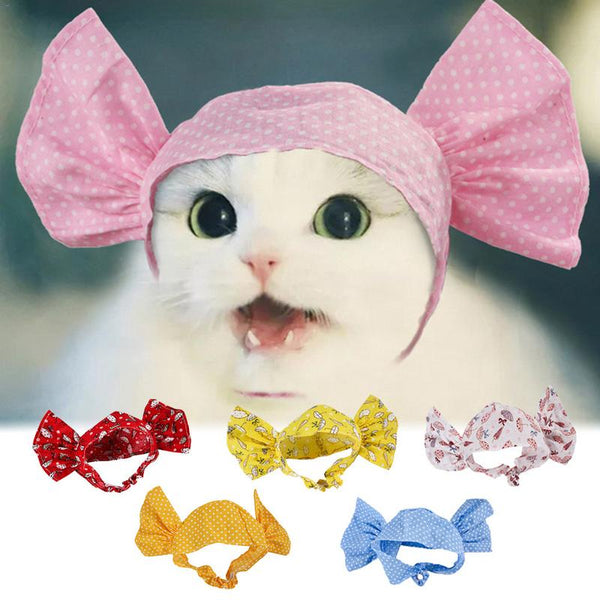 2019 New Cute Pet Cat Puppy Candy Styling Headgear Kitty Dog Funny Polka Dot Umbrella Pattern Elastic Hair Band Hood