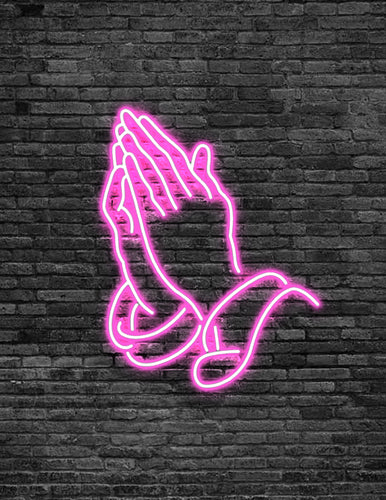 Praying Hands Neon Sign