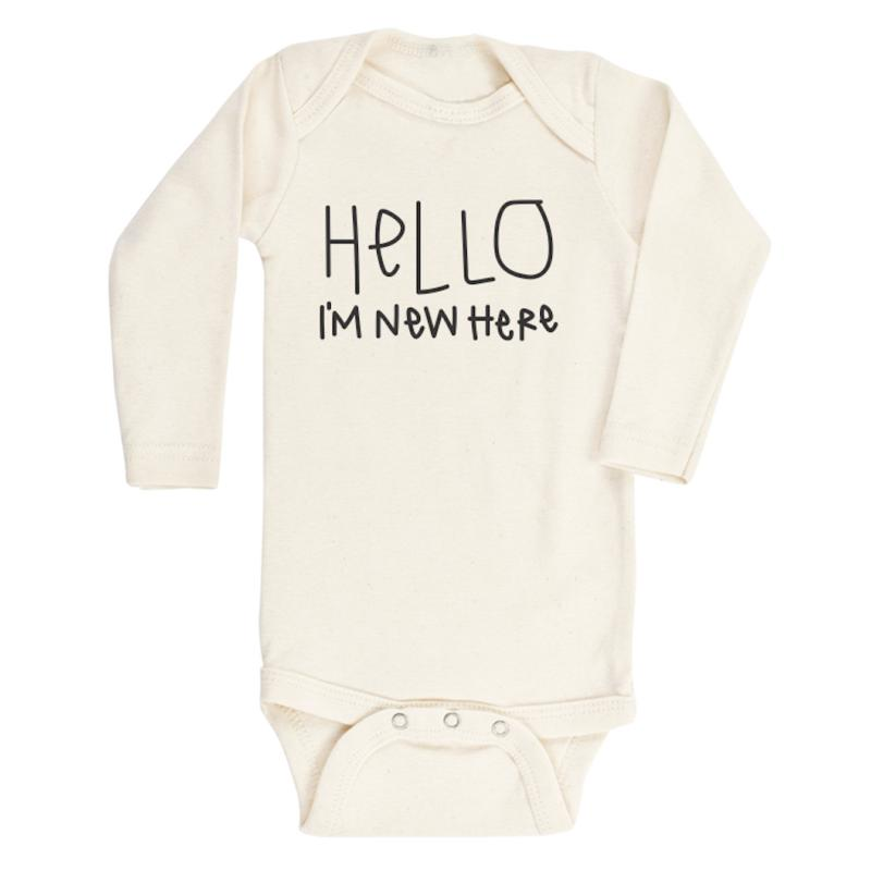 Hello I'm New Here Long Sleeve Bodysuit by Tenth & Pine - Fox and Roo