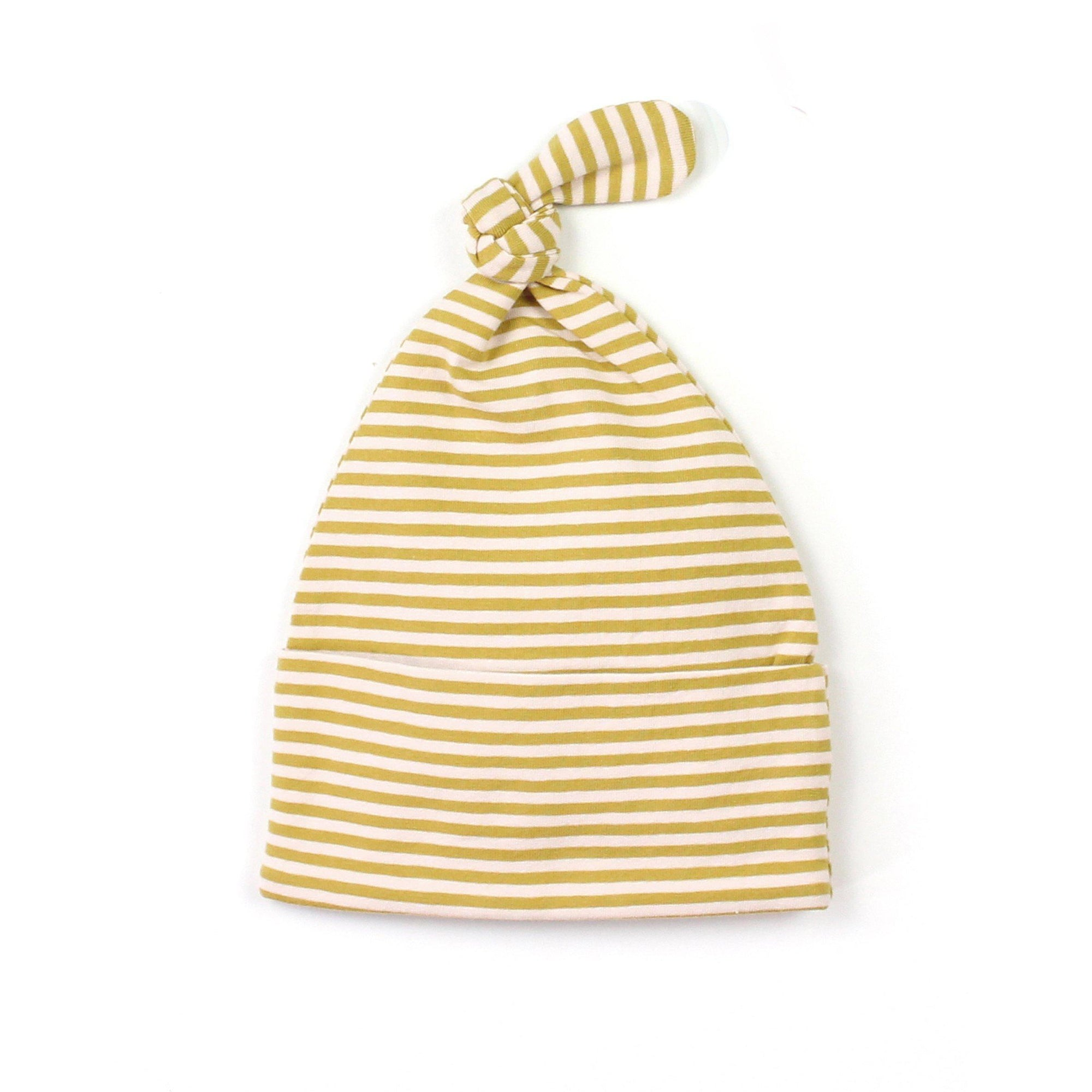 Mustard Stripe Knot Beanie - Fox and Roo