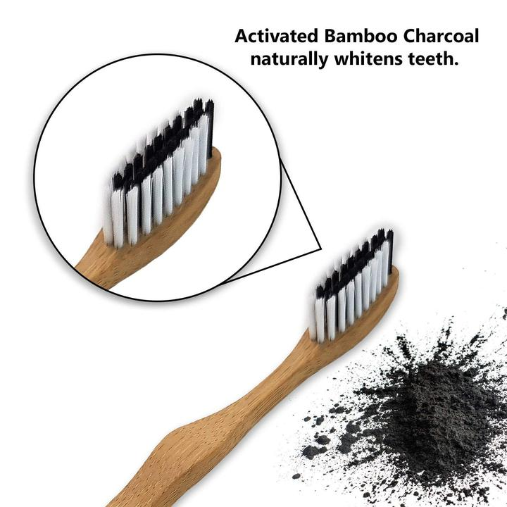 4 Pack 'Bambaw' Charcoal Bamboo Toothbrush Set - Zero Waste Shop, Toothbrush - Eco + Plant-Based Lifestyle, G.0 - Generation Zero Uk, G.0 - G.0