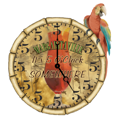 Five O'Clock Parrot Clock with All 5s Sign
