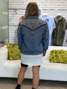 Denim Studded Chain Jacket