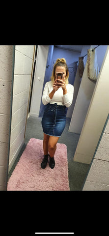 Denim Belted Skirt