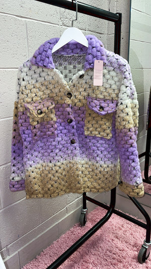 Lilac Multi Colour Heavy Knitted Shacket(3 Colours)