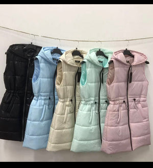 Drawstring Puffer Gilet (3Colours)