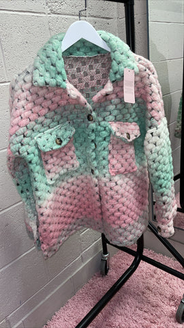 Multi Mint Colour Heavy Knitted Shacket(3 Colours)