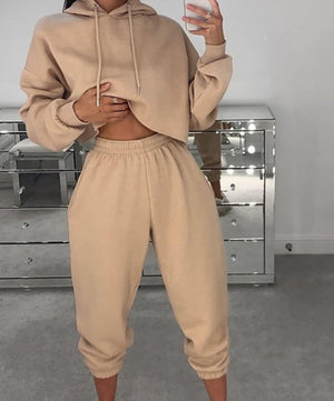 Crop Hoddie & Jogger Set(10 COLOURS)