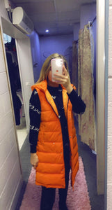 Zip Side Gilet With Hood (Orange)