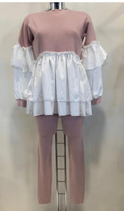 Knitted Rib Frill Lounge Co-Ord