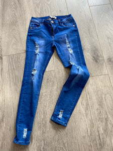 Denim Thigh Fray Jeans