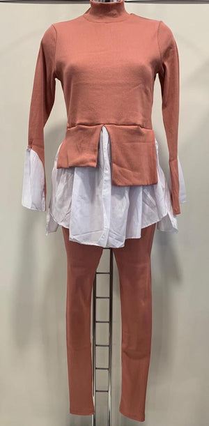 Ribbed Frill Shirt Co-Ord
