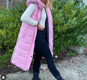 Dusty Pink Hooded Matte Gilet Side Zip