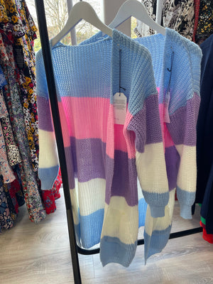 Blue Multi Colour Long Knit Cardigan