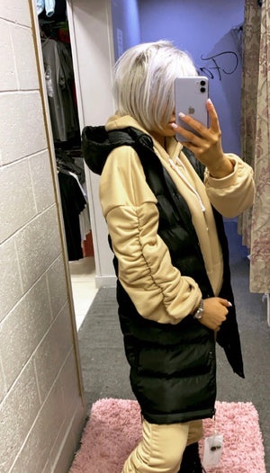 Hooded Zip Side Gilet (Khaki+Black)