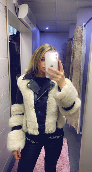 Triple Faux Fur Sleeve Pu Jacket