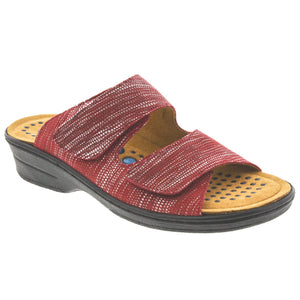 Lucille Woven Leather Slide In Sandal with removable Sietelunas Insole