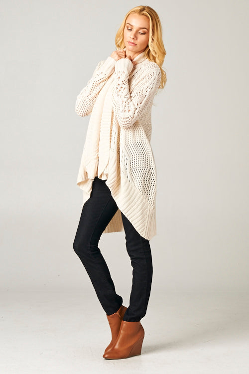 Marled Knit Open Sweater